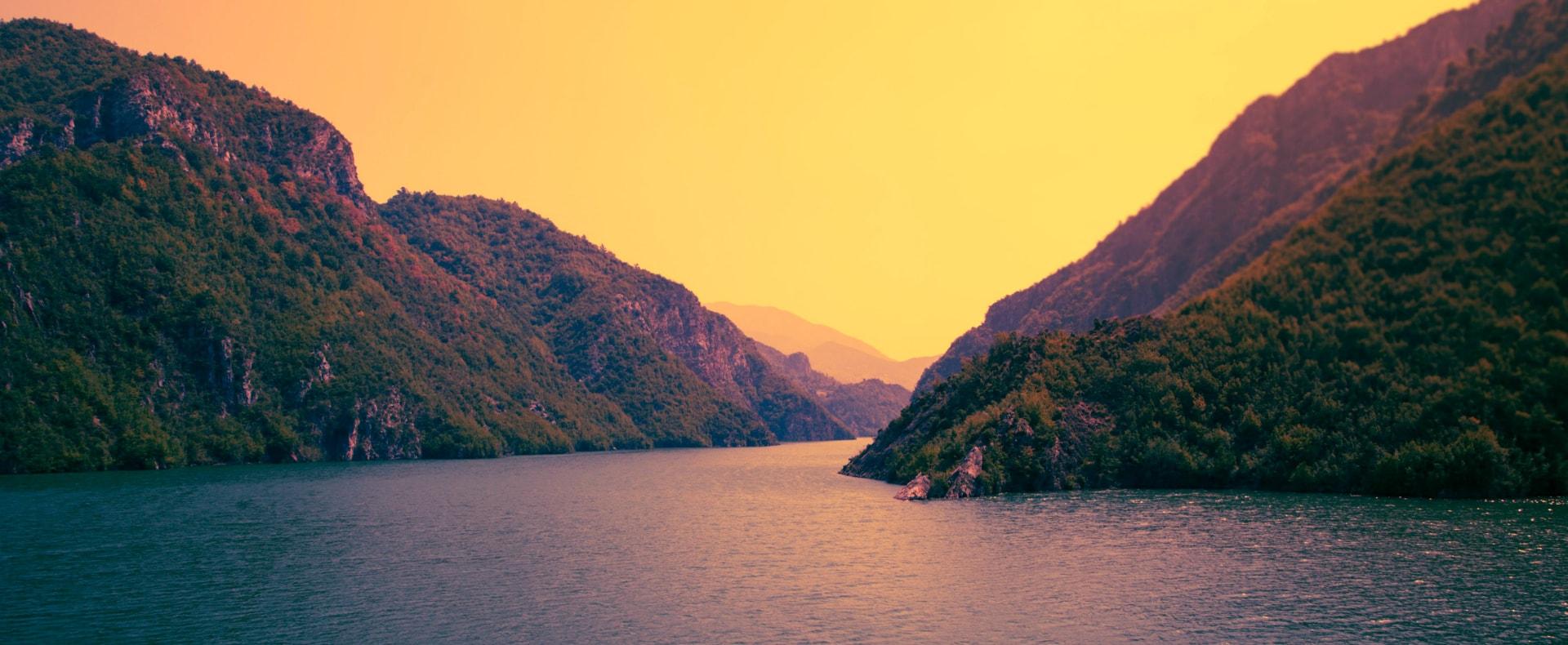 The Koman Lake, Albania