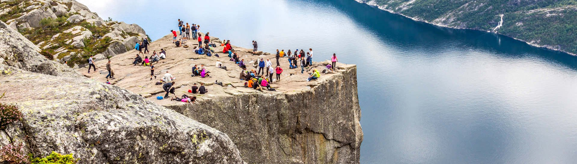 Hike up to the top of the Pulpit Rock over the Lysefjord to enjoy some of the most striking displays of Norway