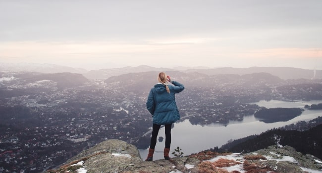 Girl looking out at the Bergen's scenery