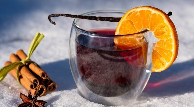 Red mulled wine drink in Norway - Glogg