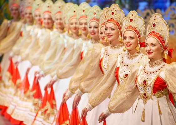 Russian folk dancers in traditional costumes
