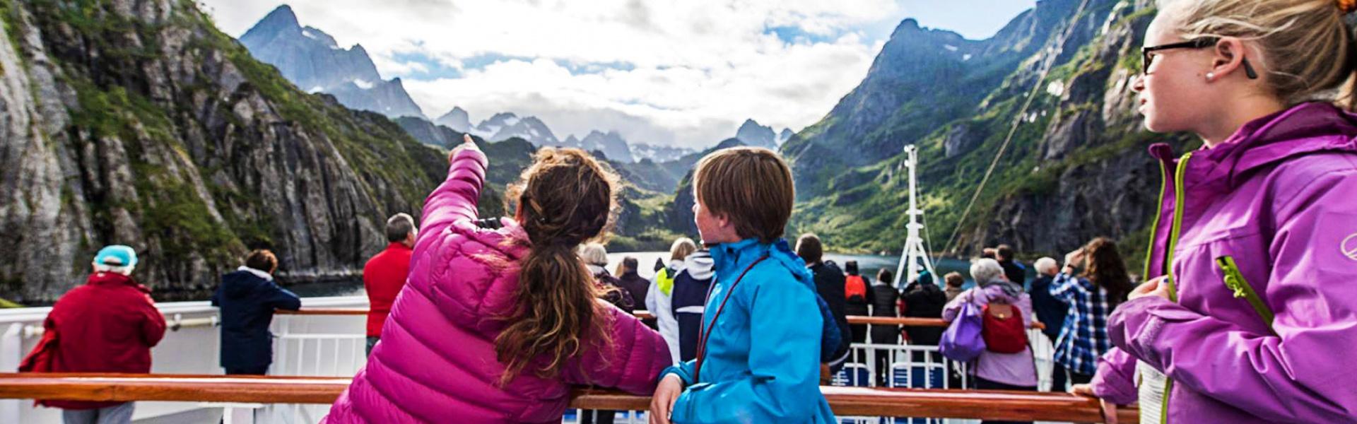 Cruising the Norwegian fjords on board the Hurtigruten ship